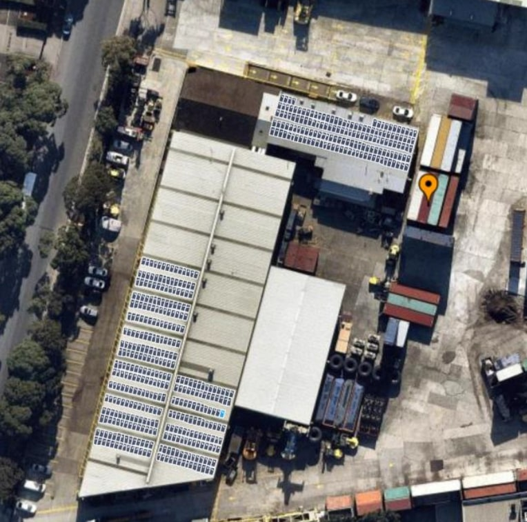 Large Photovoltaic System on roof of shipping container depot